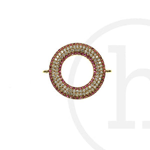 CZ 14K Gold Plated Crystal & Rose LoopConnector by Halcraft Collection