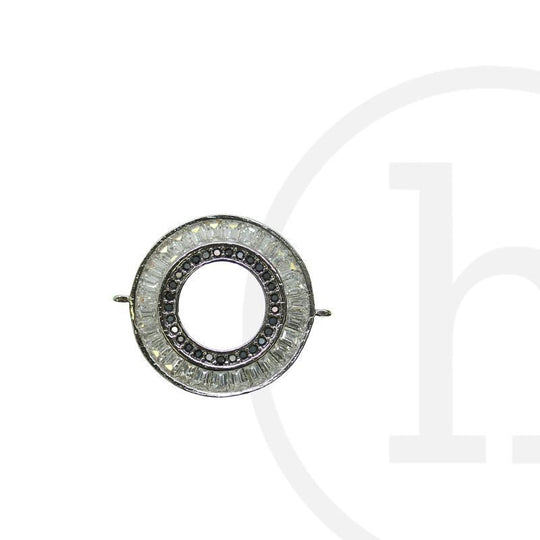 CZ Rhodium Plated Crystal & Olivine LoopConnector by Halcraft Collection