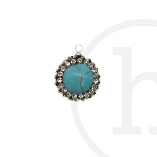 Dyed Reconstituted Turquoise Stone Charm with Micropave FrameCharm by Halcraft Collection