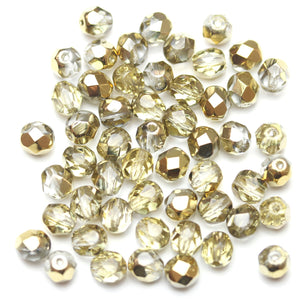 Crystal with Light Gold Iris Half Coat Glass Czech Round Fire Polished Faceted 6mm Beads by Halcraft Collection