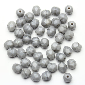 Opaque Grey Glass Czech Round Fire Polished Faceted 6mm