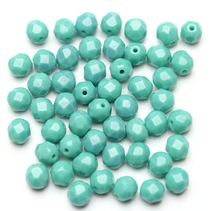 Opaque Turquoise Blue Glass Czech Round Fire Polished Faceted 6mm Beads by Halcraft Collection
