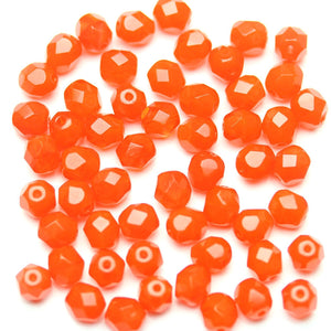 Orange Glass Czech Round Fire Polished Faceted 6mm
