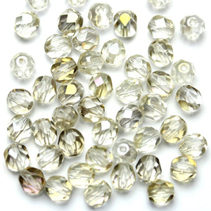 Crystal Glass with Light Topaz Luster Czech Round Fire Polished Faceted 6mm Beads by Halcraft Collection