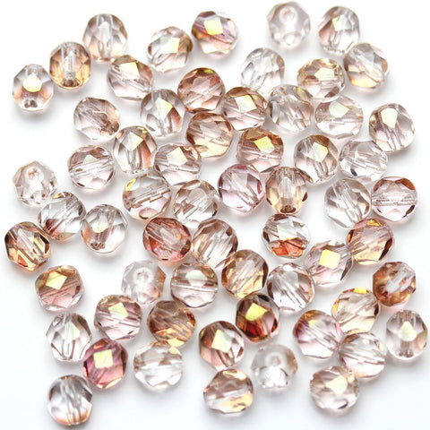 Crystal with Peach AB Glass Czech Round Fire Polished Faceted 6mm