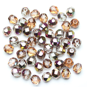 Crystal with Pink AB Glass Czech Round Fire Polished Faceted 6mm