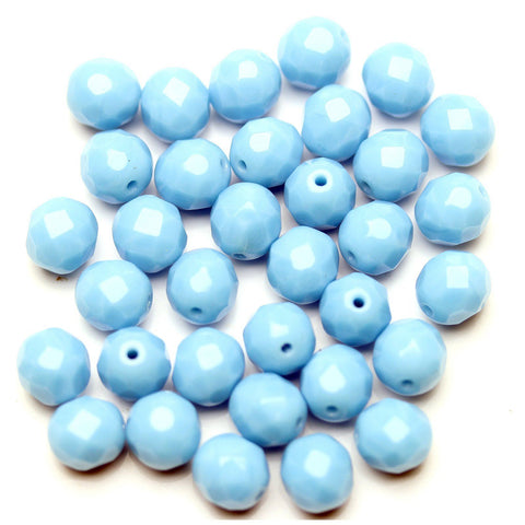 Opaque Cornflower Blue Glass Czech Round Fire Polished Faceted 8mm