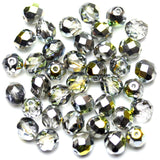 Crystal with Silver AB Half Coat Glass Czech Round Fire Polished Faceted 8mm