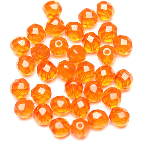 Dark Orange Glass Czech Round Fire Polished Faceted 8mm
