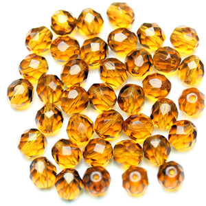 Amber Glass Czech Round Fire Polished Faceted 8mm