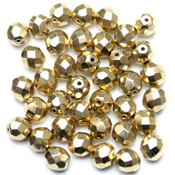 Crystal with Light Gold Iris Glass Czech Round Fire Polished Faceted 8mm