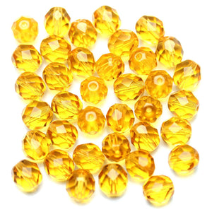 Light Amber Glass Czech Round Fire Polished Faceted 8mm