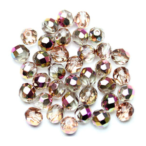 Crystal with Pink AB Glass Czech Round Fire Polished Faceted 8mm