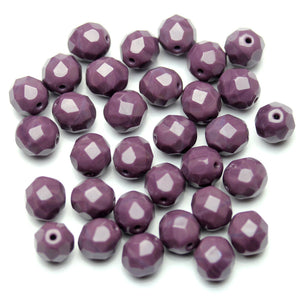 Opaque Amethyst Glass Czech Round Fire Polished Faceted 8mm