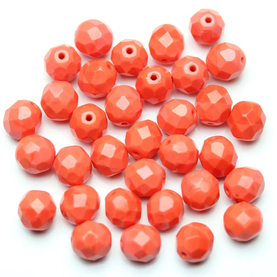 Opaque Dark Coral Glass Czech Round Fire Polished Faceted 8mm Beads by Halcraft Collection
