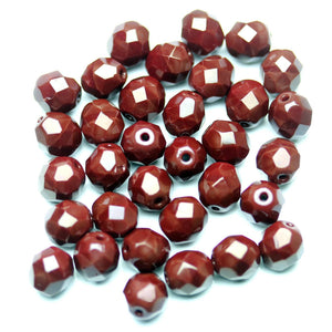 Opaque Brown Glass Czech Round Fire Polished Faceted 8mm