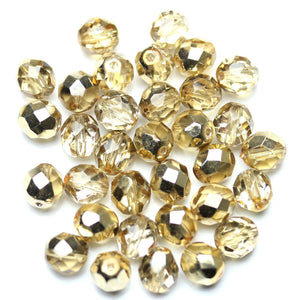 Crystal with Gold Iris Half Coat Glass Czech Round Fire Polished Faceted 8mm