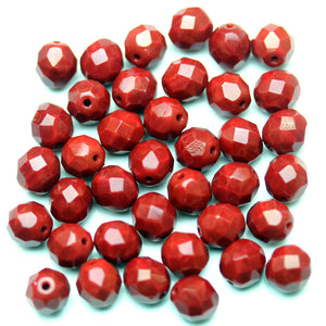 Opaque Dark Red Glass Czech Round Fire Polished Faceted 8mm