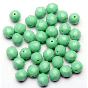 Opaque Light Turquoise Glass Czech Round Fire Polished Faceted 8mm
