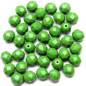 Opaque Green Czech Round Fire Polished Faceted 8mm