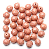 Opaque Pink Glass Czech Round Fire Polished Faceted 8mm