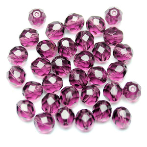 Amethyst Glass Czech Round Fire Polished Faceted 8mm