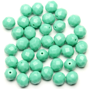 Opaque Turquoise Green Czech Round Fire Polished Faceted 8mm