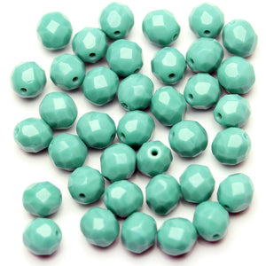 Opaque Turquoise Blue Glass Czech Round Fire Polished Faceted 8mm