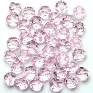 Pink Glass Czech Round Fire Polished Faceted 8mm