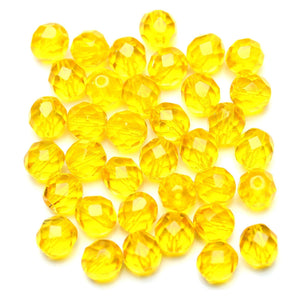 Yellow/Orange Glass Czech Round Fire Polished Faceted 8mm