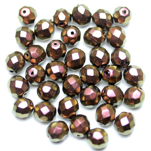 Purple Coated Glass Czech Round Fire Polished Faceted 8mm