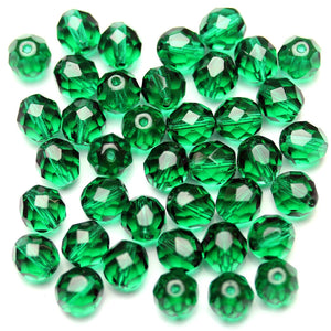 Forest Green Glass Czech Round Fire Polished Faceted 8mm
