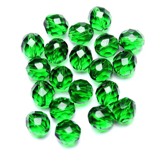 Emerald Glass Czech Round Fire Polished Faceted 10mm
