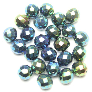 Black with Aqua Iris Glass Czech Round Fire Polished Faceted 10mm