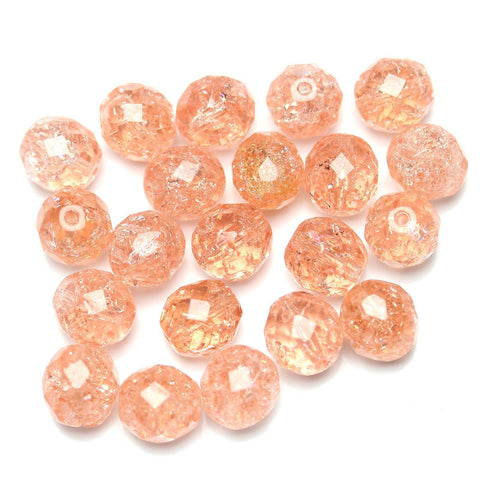 Peach Crackle Glass Czech Round Fire Polished Faceted 10mm