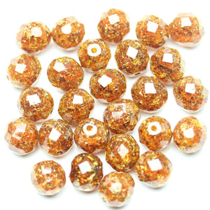 Amber Crackle Glass Czech Round Fire Polished Faceted 10mm