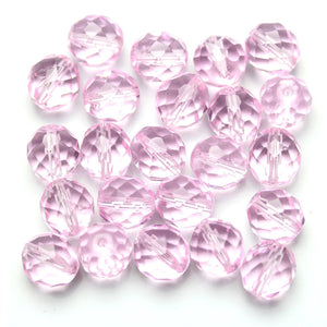 Light Pink Glass Czech Round Fire Polished Faceted 10mm