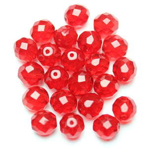Red Glass Czech Round Fire Polished Faceted 10mm