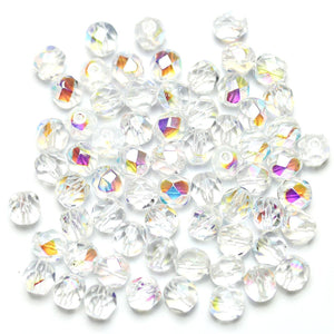 Crystal AB Glass Czech Round Fire Polished Faceted 6mm