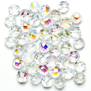 Crystal AB Glass Czech Round Fire Polished Faceted 8mm