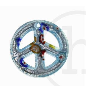 Lampwork Glass Light Blue Peace Sign 50mm Pendant by Halcraft Collection