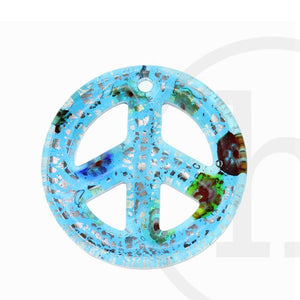 Lampwork Glass Sapphire Peace Sign 50mm Pendant by Bead Gallery
