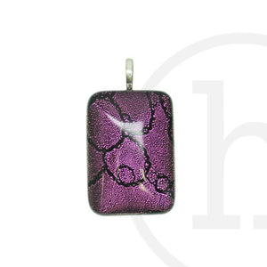 Lampwork Glass Purple Rectangle 25X35mm Pendant by Halcraft Collection