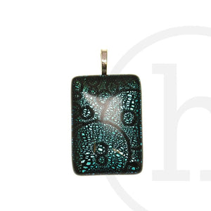Lampwork Glass Aqua Rectangle 25X35mm Pendant by Halcraft Collection