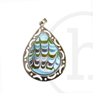 Drop Lampwork Glass Multi 30X40mm Pendant by Bead Gallery
