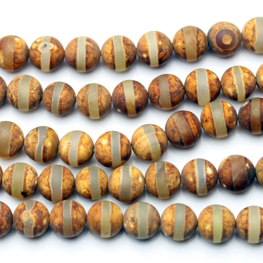 Amber Line Dyed Agate Stone Round 10mm Beads by Halcraft Collection