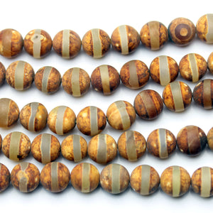 Amber Line Dyed Agate Stone Round 10mm