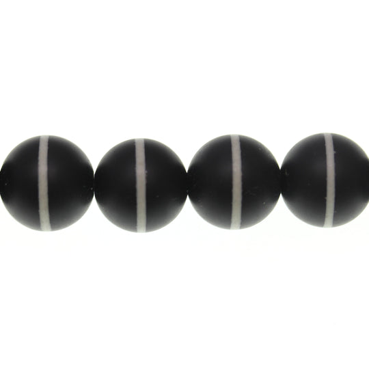 Black and White Dyed Agate Stone Round 14mm