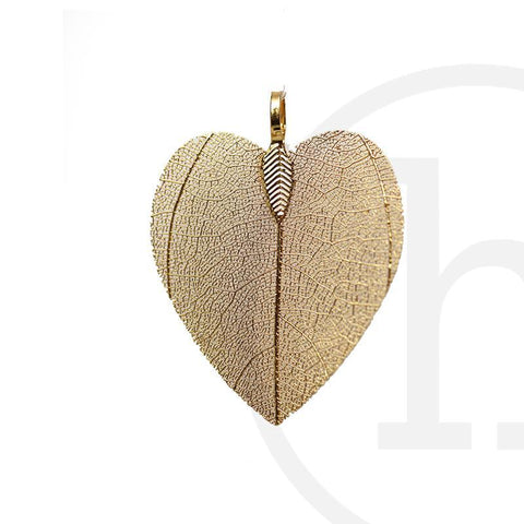 25mm, 25x34mm, 34mm, Gold, Heart leaf, Metal, Pendant