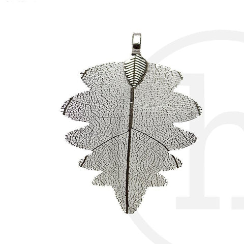 30mm, 30x58mm, 58mm, Metal, Oak Leaf, Pendant, Silver